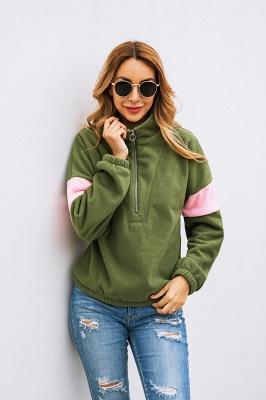 Women's Winter Patchwork Halp Zip Fuzzy Pullovers_14