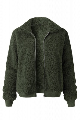 Thick Oversized Faux Shearling Coat with Zipper_4