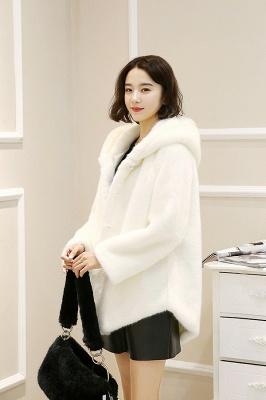 Black Cape Type Hooded Faux Fur Coat_12