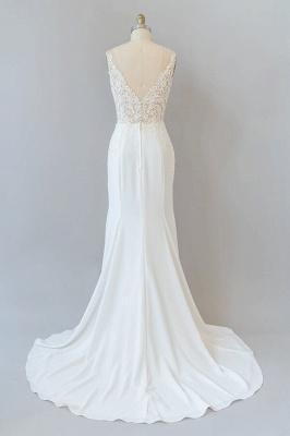 Cheap Floor Length Lace Chiffon Sheath Wedding Gowns_3