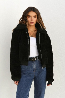 Thick Oversized Faux Shearling Coat with Zipper_12