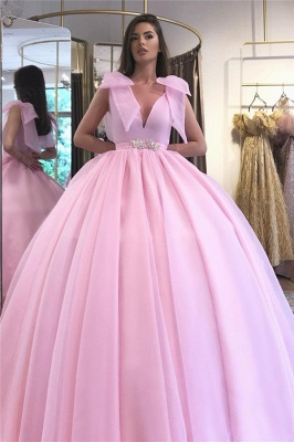 Glamorous V-neck Belted Tied Shoulder Ball Gown Prom Dresses_1