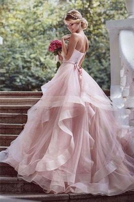 Court Train Sweetheart Layers Puffy Sleeveless Organza Wedding Dresses_3