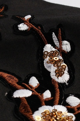 Vintage 1/2 Sleeve Wintersweet Embroidery Black Swing Dress_5