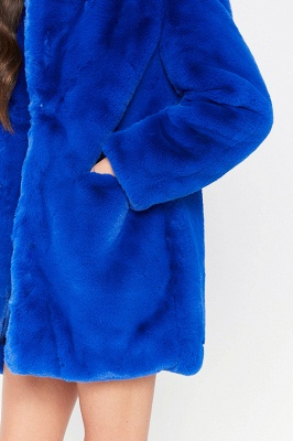 Yellow Stick Up Neckline Medium Long Fuzzy Coat_34