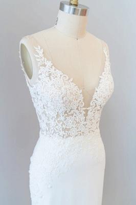 Cheap Floor Length Lace Chiffon Sheath Wedding Gowns_6