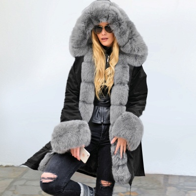 Premium Fur Trimmed Parka Coat with Faux Fur Hood_9