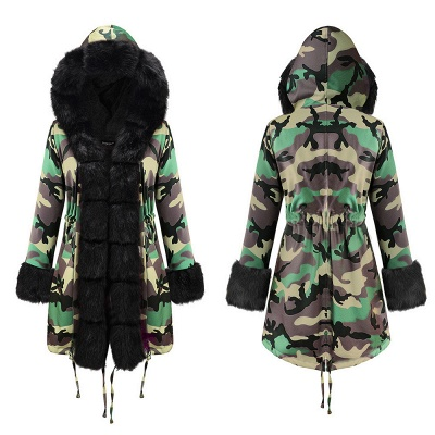 Camo Military Premium Fur Trim Parka Coat with Faux Fur Hood_16