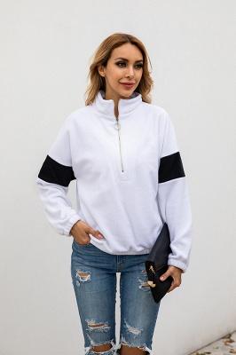 Women's Winter Patchwork Halp Zip Fuzzy Pullovers_6