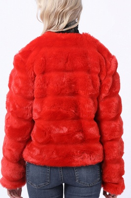 Red Tiered Faux Fur Coat with Full Fur Collar and Cuffs_7