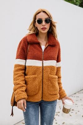 Women's Winter Multi Color Patchwork Faux Shearling Coat_4