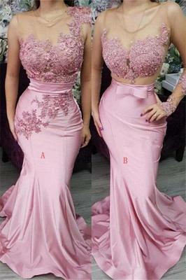 Pink Appliques Lace Mermaid Prom Dresses | Gorgeous Appliques Trumpet Evening Dress_1