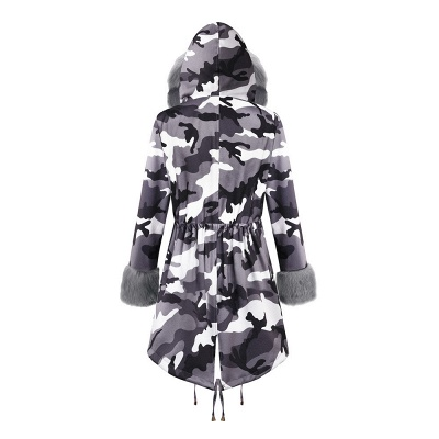 Camo Military Fur Lined Parka Coat with Faux Fur Hood_30