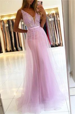 Straps A-line Backless V-neck Lace Tulle Prom Dresses_1