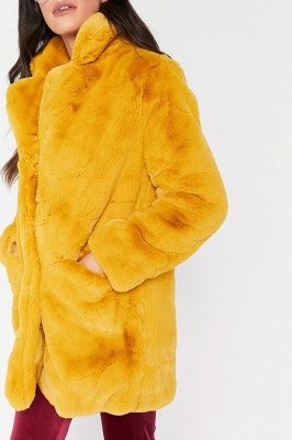 Yellow Stick Up Neckline Medium Long Fuzzy Coat_12
