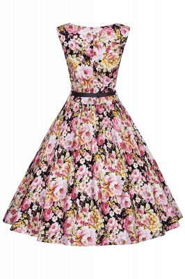 1950S Belted Floral Printed Retro Dress_6