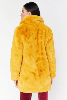 Yellow Stick Up Neckline Medium Long Fuzzy Coat_15