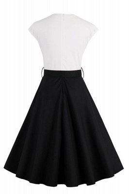 1950S Belted White and Black Patchwork Swing Dress_3
