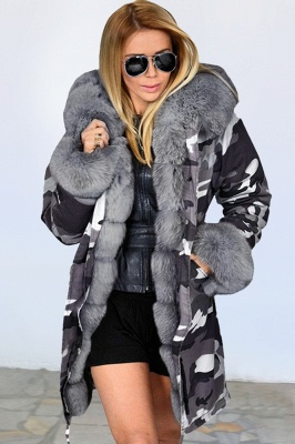 Camo Military Fur Lined Parka Coat with Faux Fur Hood_4