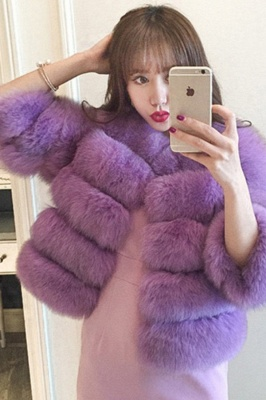 Tiered Fox Fur Coat with Full Fur Collar and Cuffs_46