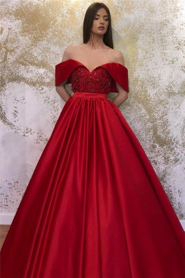 Off-the-shoulder Sweetheart Belted A-line Puffy Prom Dresses_2