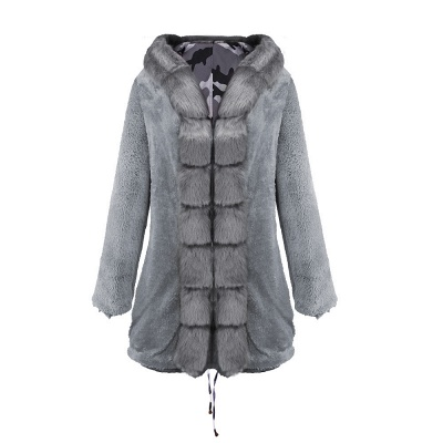 Camo Military Fur Lined Parka Coat with Faux Fur Hood_33