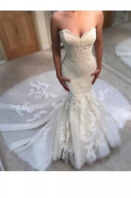 Glamorous Mermaid Wedding Dresses | Sweetheart Appliques Bridal Gowns_3