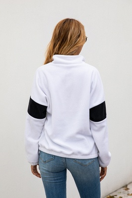 Women's Winter Patchwork Halp Zip Fuzzy Pullovers_9
