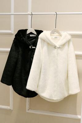 Black Cape Type Hooded Faux Fur Coat_21