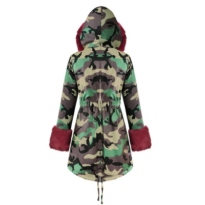 Camo Military Premium Fur Trim Parka Coat with Faux Fur Hood_32