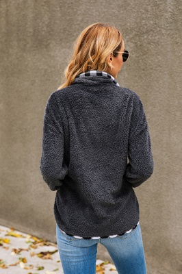 Women's Fall Winter Halp Zip Fuzzy Pullovers_5