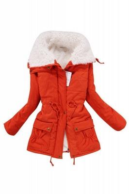 Women's Fashion Hunt Lamb Wool Collar Parka Coat_16
