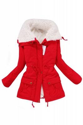 Women's Fashion Hunt Lamb Wool Collar Parka Coat_9