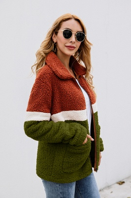 Women's Winter Multi Color Patchwork Faux Shearling Coat_13