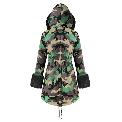 Camo Military Premium Fur Trim Parka Coat with Faux Fur Hood_22