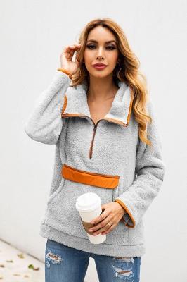 Women's Fall Winter Halp Zip Fuzzy Pullovers With Pockets_15