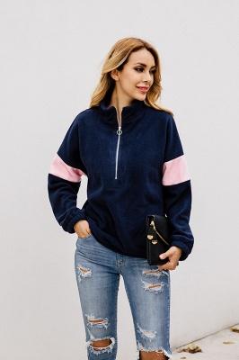 Women's Winter Patchwork Halp Zip Fuzzy Pullovers_3