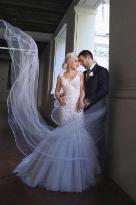 Glamorous Off-the-Shoulder Sweetheart Long Mermaid Lace Wedding Dress_3