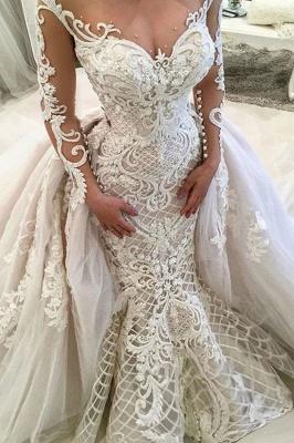 Glamorous Long Sleeves Mermaid Lace Overskirt Wedding Dresses_2