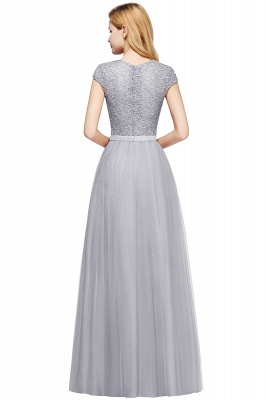 Cheap A-line Jewel Tulle Lace Bridesmaid Dress in Stock_24