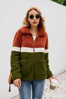Women's Winter Multi Color Patchwork Faux Shearling Coat_14