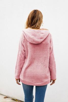 Women's Fall Winter Halp Zip Fuzzy Pullovers With Pockets_17