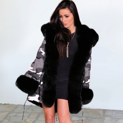 Camo Military Fur Lined Parka Coat with Faux Fur Hood_10