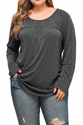 Plain Designs Plus Size Long Sleeves Tunic Blouses_3