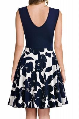 V-neck Sleeveless Above Knee Patchwork Dress_15