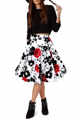 Retro A-line Floral?Printed Short Skirt_19