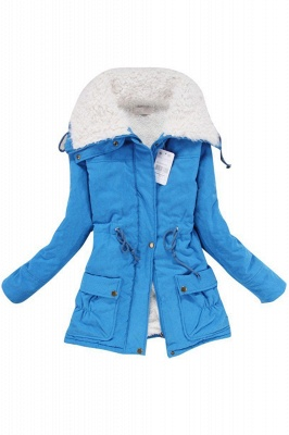Women's Fashion Hunt Lamb Wool Collar Parka Coat_13