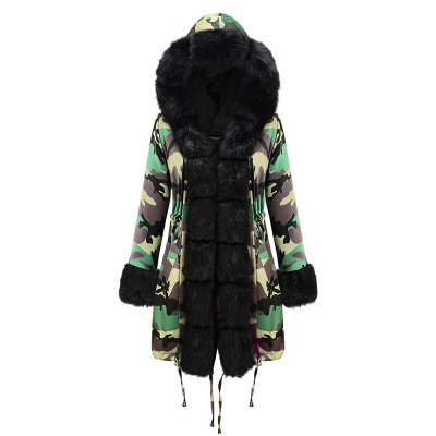 Camo Military Premium Fur Trim Parka Coat with Faux Fur Hood_26