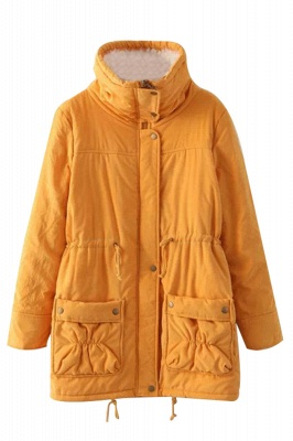 Women's Fashion Hunt Lamb Wool Collar Parka Coat_25