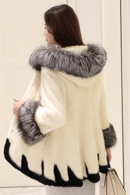 Women's Fashion Hooded White Fox Fur Coat_9